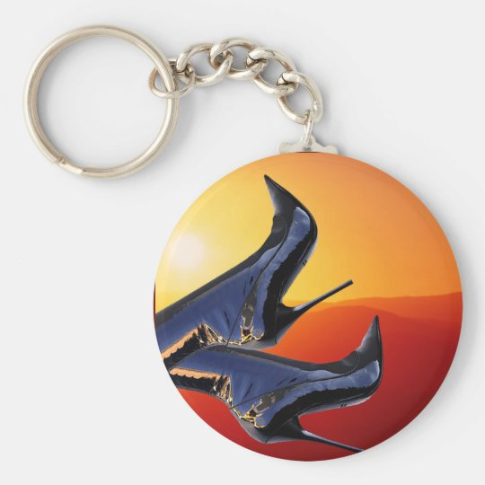 Boot Art with a Coloful Sunset Background Basic Round Button Key Ring