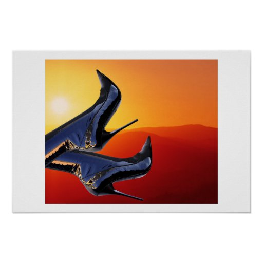 Boot Art with a Coloful Sunset Background Poster