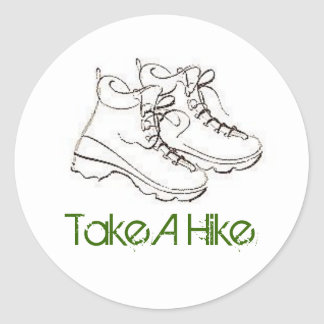 boot, Take A Hike Round Sticker