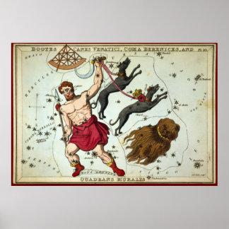 Bootes Canes Venatici, Coma Berenices, etc Poster