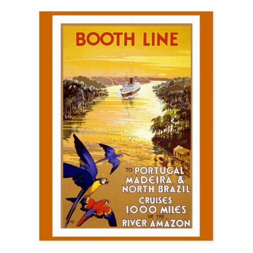 """"""" Booth Line"""" Vintage Travel Poster Postcard"""