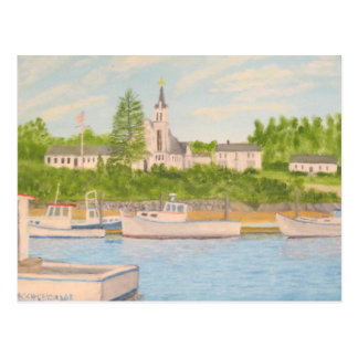 Boothbay Harbor: Church and Lobster Boats Postcard