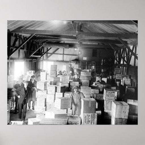 Bootleg Whiskey Warehouse, 1920. Vintage Photo Poster