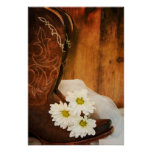Boots and White Daisies Wedding Poster Print