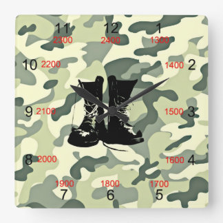 Boots & Camo Military Wall Clock