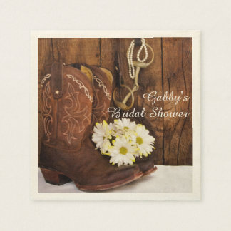 Boots, Daisies and Horse Bit Country Bridal Shower Disposable Napkins