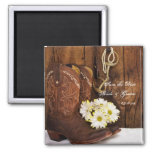 Boots Daisies and Horse Bit Wedding Save the Date Square Magnet