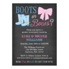 Boots or Bows Gender Reveal Party Baby Shower Card