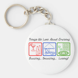 Boozing, Snoozing... Basic Round Button Key Ring