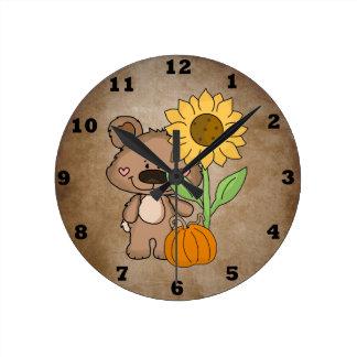 Boppy Bear Autumn Wall Clock