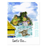 Bora Bora Cute Cartoon Watercolor Postcard