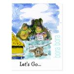Bora Bora Cute Cartoon Watercolor Postcards