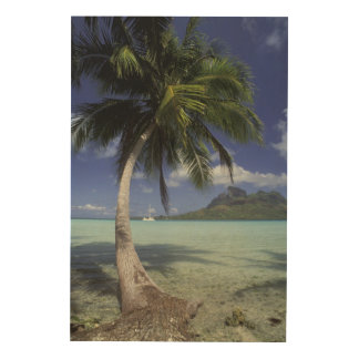 Bora Bora, French Polynesia Mt. Otemanu seen Wood Print