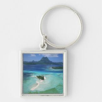 Bora Bora, French Polynesia Silver-Colored Square Key Ring