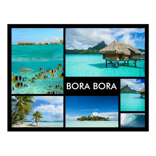 Bora Bora multiple image collage black postcard
