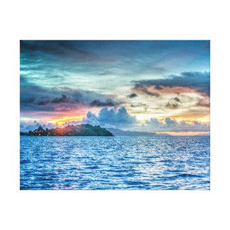 Bora Bora Sunset across the ocean Canvas Print
