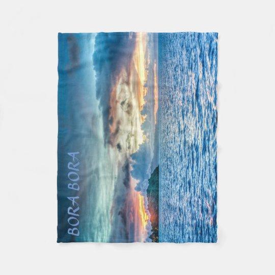 Bora Bora Sunset across the ocean Fleece Blanket