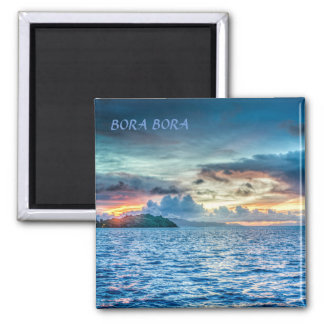 Bora Bora Sunset across the ocean Square Magnet