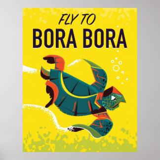 Bora Bora vintage travel poster