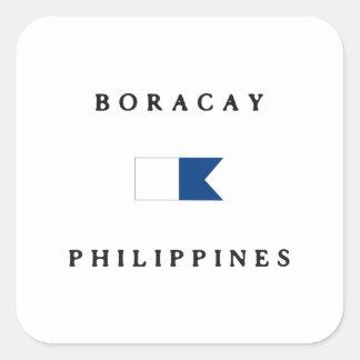 Boracay Philippines Alpha Dive Flag Square Sticker