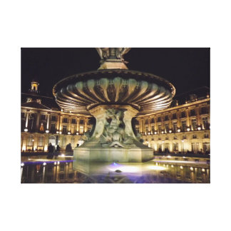 Bordeaux fountain at night canvas print