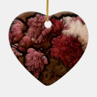 Bordeaux Peony Flower Bouquet Ceramic Heart Decoration