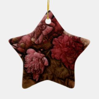 Bordeaux Peony Flower Bouquet Ceramic Star Decoration