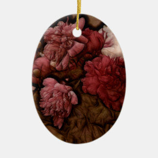 Bordeaux Peony Flower Bouquet Christmas Ornament