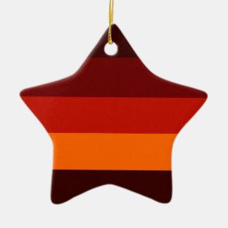 Bordeaux Red Orange Stripe Star Tree Ornament