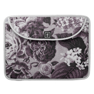 Bordeaux Red Vintage Floral Toile No.1 Sleeves For MacBooks