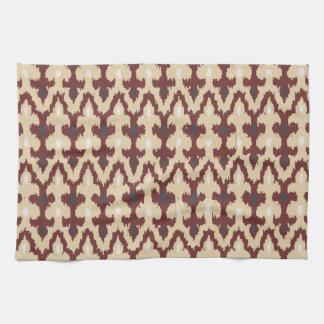 Bordeaux Tan Geometric Ikat Tribal Ornament Pattrn Hand Towel
