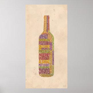 Bordeaux Wine Word Bottle Poster