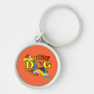 Border Collie Agility Silver-Colored Round Key Ring