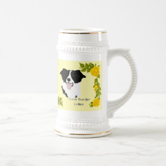 Border Collie and Yellow Roses Beer Stein