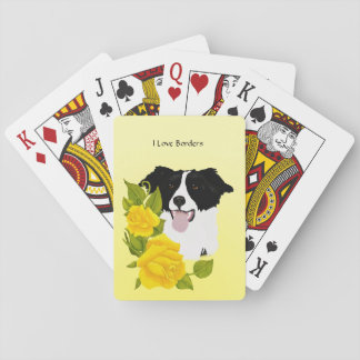 Border Collie and Yellow Roses Poker Deck