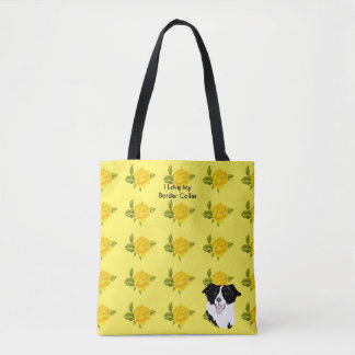 Border Collie and Yellow Roses Tote Bag