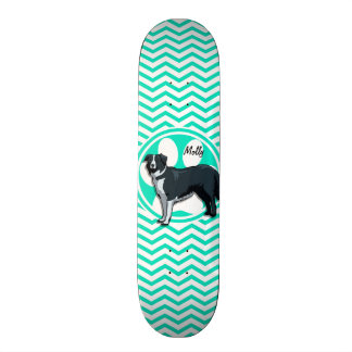 Border Collie; Aqua Green Chevron Skateboard