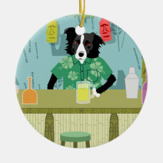 Border Collie Bamboo Tiki Bar Ornament