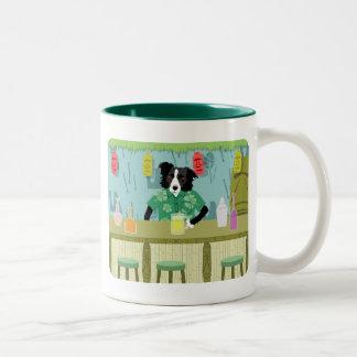 Border Collie Bamboo Tiki Bar Two-Tone Coffee Mug