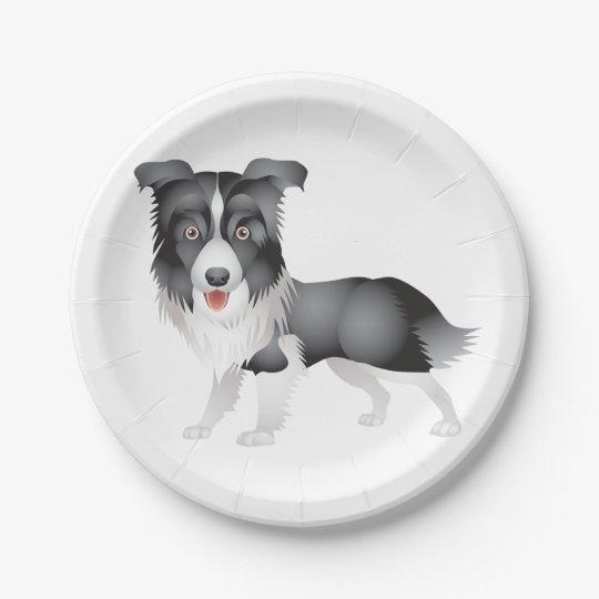 Border Collie Black & White Puppy Dog Paper