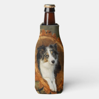 Border Collie Blue Merle Dog Head Photography Pet Bottle Cooler