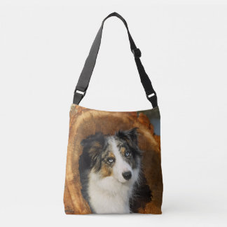 Border Collie Blue Merle Dog Photo - on Crossbody Bag