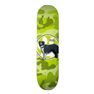 Border Collie; bright green camo, camouflage Skate Boards