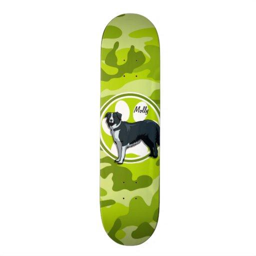 Border Collie; bright green camo, camouflage Skate Boards