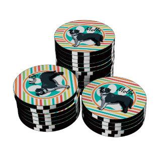 Border Collie; Bright Rainbow Stripes Set Of Poker Chips