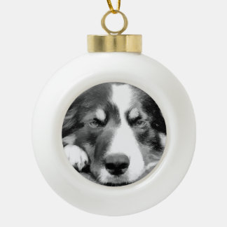 BORDER COLLIE CERAMIC BALL CHRISTMAS ORNAMENT