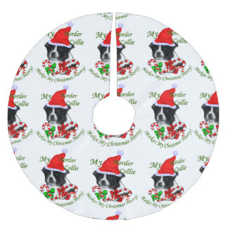 Border Collie Christmas Brushed Polyester Tree Skirt