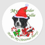 Border Collie Christmas Gifts Round Stickers