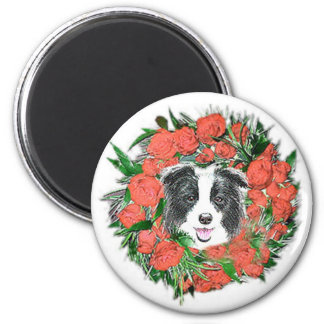Border Collie Christmas Magnet