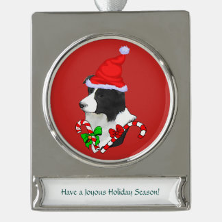 Border Collie Christmas Silver Plated Banner Ornament
